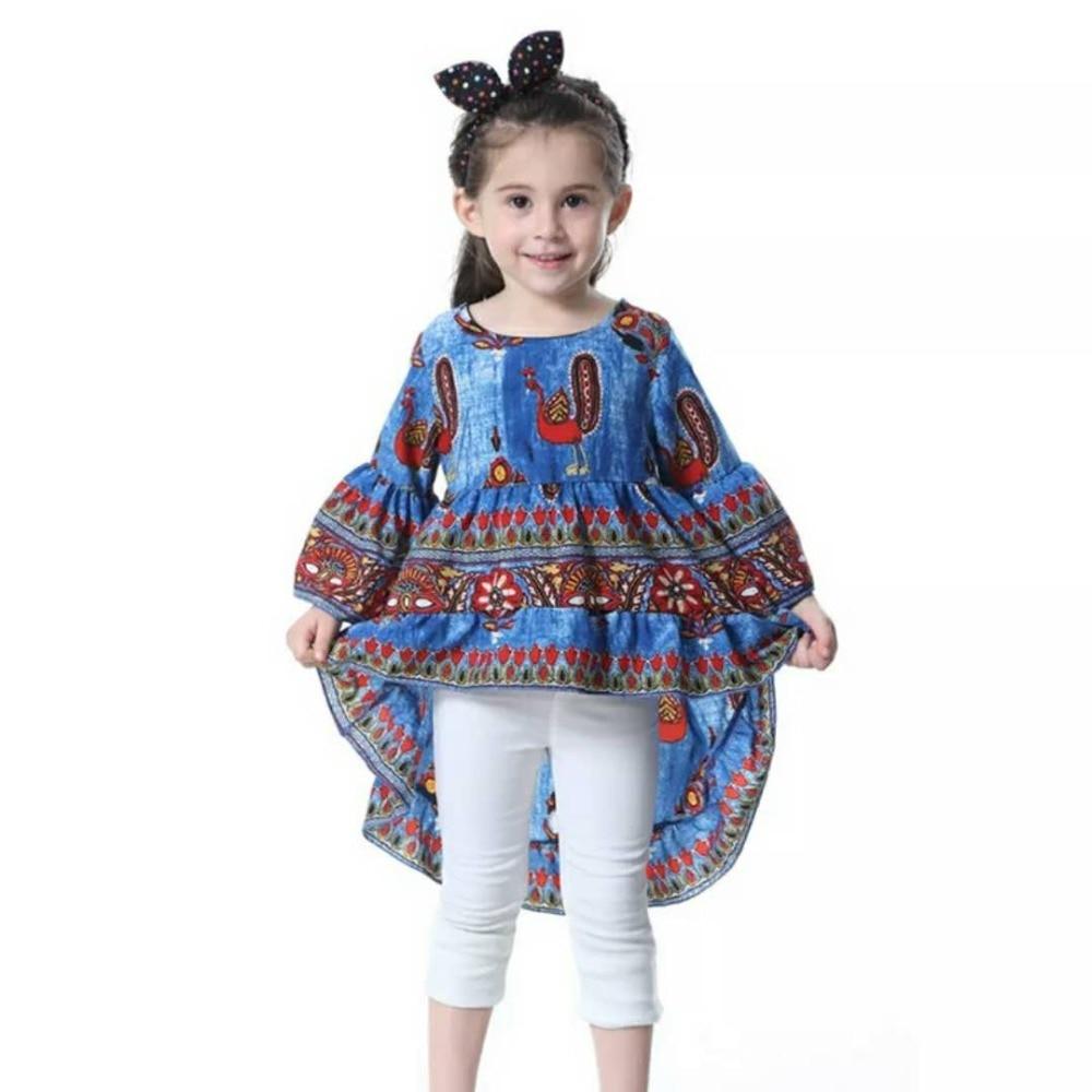 Baby Toddler Kid Girls Frills Bell Sleeve Fishtail Ruffled Boho Beach Blouse Top Shirt