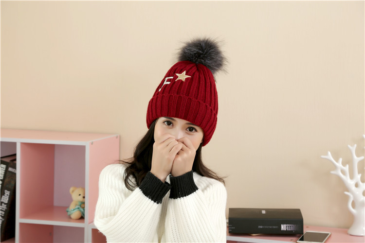 Free Shipping 1 PCS Fashion 2016 Autumn And Winter Hats Warm Knitting Ball Cap Casual Outdoor Caps For Women WCXD008  free shipping 1 set 3 pcs fashion 2016 autumn and winter hats warm knitting ball cap casual outdoor caps for women wcxd009