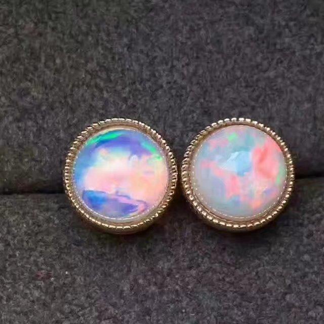 LANZYO 925 plata esterlina Natural Opal Colorido Stud Pendientes - Joyas