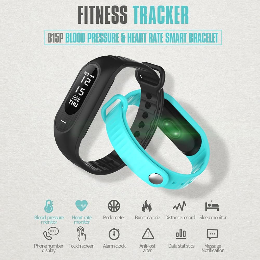 imágenes para Smarcent B15P FitnessTracker Inteligente Muñequera Heart Rate Monitor de Presión Arterial Bluetooth 4.0 Pulsera Inteligente para Android ios