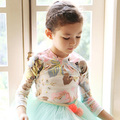 2016 Baby Girls Floral Print T-Shirt Toddler Girls Long Sleeve Tops Blouse Cotton Kids Princess T shirt  Little Girls Clothing