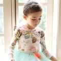 2016 Baby Girls Floral Print T-Shirt Toddler Girls Long Sleeve Tops Blouse Cotton Kids Princess T shirt  Little Girls Clothing
