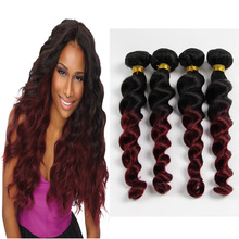 Virgin Hair Peruvian Ombre Loose Wave Human Hair Extensions 4Pcs Lot Two Tone Human Hair 1B99J Burgundy Loose Weave DL412