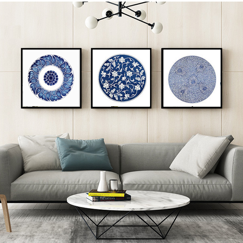 Haochu Traditional Chinese Blue And White Porcelain Totem Canvas Painting Bowl Prints And