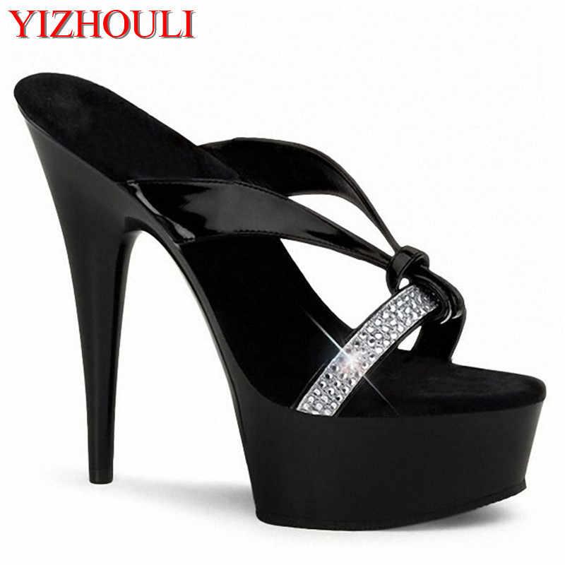 999ac5b0ec Stripper Shoes 15cm Ultra High Heels Platform Shoes Dress Celebrity Fashion  Quality Rhinestone Fashion Plus Size