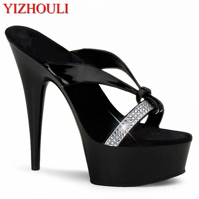 Stripper chaussures 15cm Ultra hauts talons plate forme chaussures robe célébrité mode qualité strass mode grande taille sandales-in Sandales femme from Chaussures    1