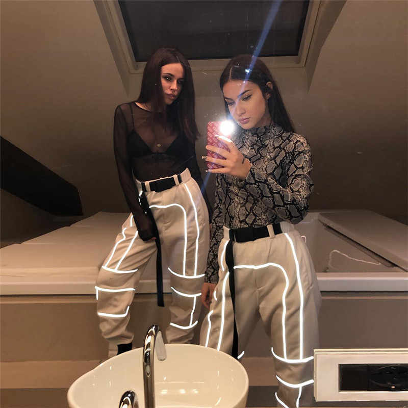 2019 new arrival women fashion street Reflective patchwork cargo pants zipper fly with sashes pockets knitted trousers