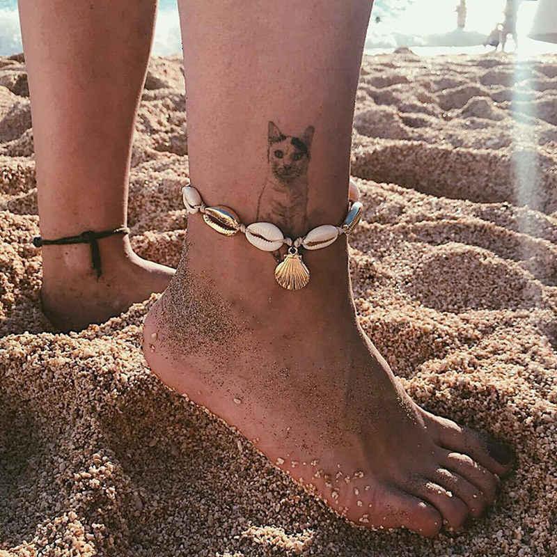 自由奔放に生きる自然の海シェル巻き貝女性足首ブレスレット脚チェーンシルバーシェルゴールドアンクレットビーチ足ファッションジュエリー