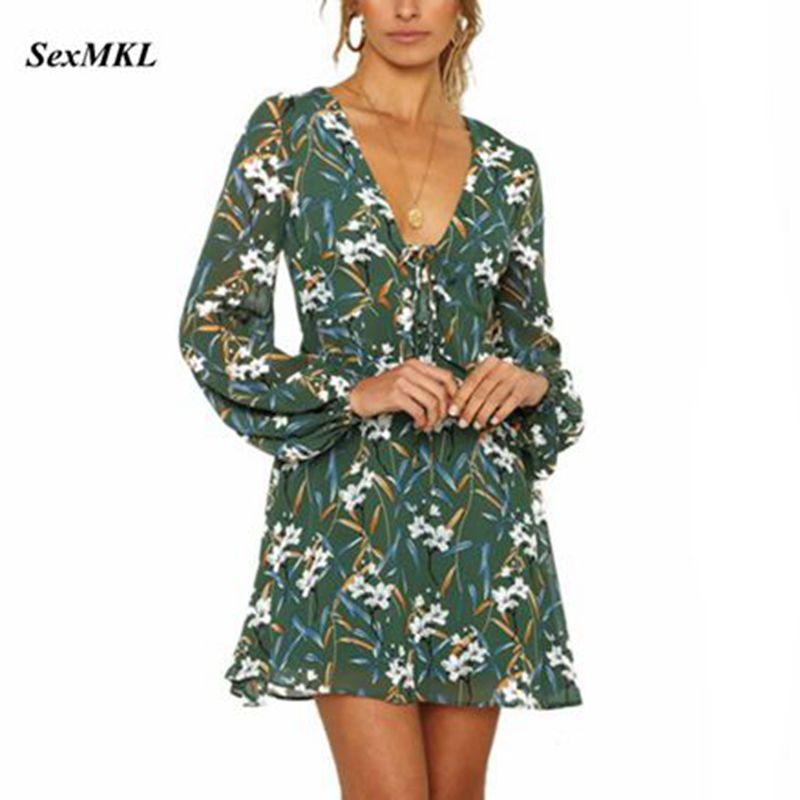 SEXMKL Sexy V Neck Chiffon Dress 2019 Spring Summer Long Sleeve A-line Floral Print Mini Dresses Ladies Casual Beach Party Dress floral chiffon dress long sleeve