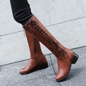 Image 5 - BLXQPYT 2018 New Big kích thước 33 50 khởi động phụ nữ Mùa Thu Mùa Đông ấm áp bottine femmes zapatos mujer giày Đầu Gối  cao người phụ nữ 2012