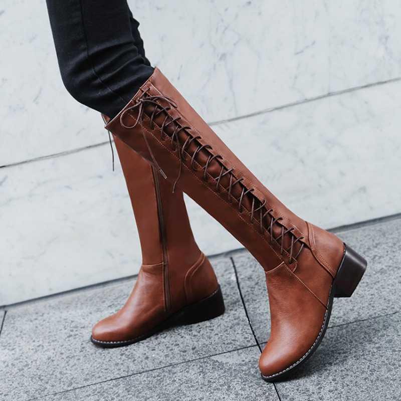 BLXQPYT 2018 Nieuwe Big size 33-50 laarzen vrouwen Herfst Winter warm bottine femmes zapatos mujer schoenen Knie- hoge vrouw 2012