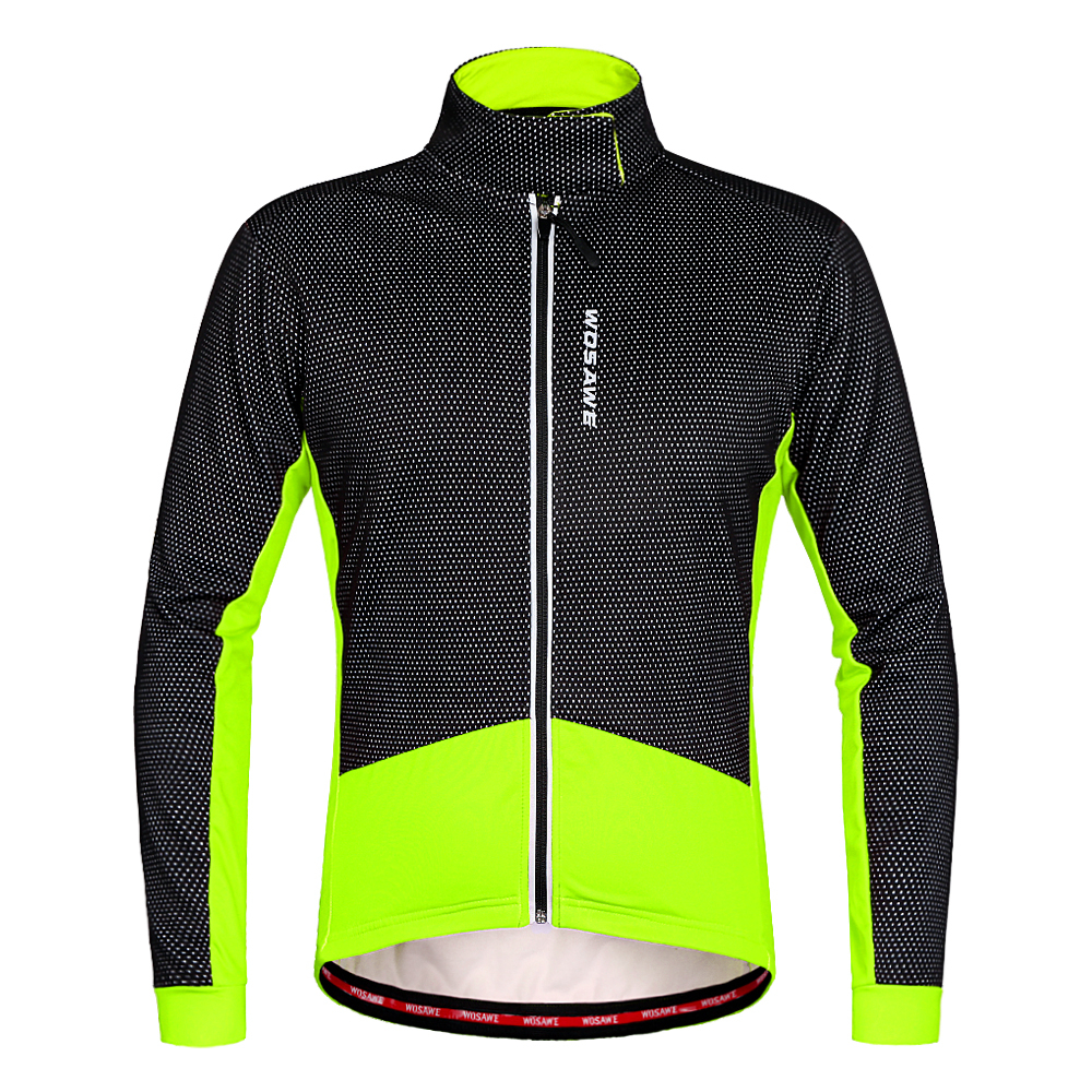 WOSAWE Men Fleece Thermal Cycling Jackets Autumn Winter Warm Up Bicycle Clothing Windproof Waterproof Wind Coat MTB Bike Jerseys