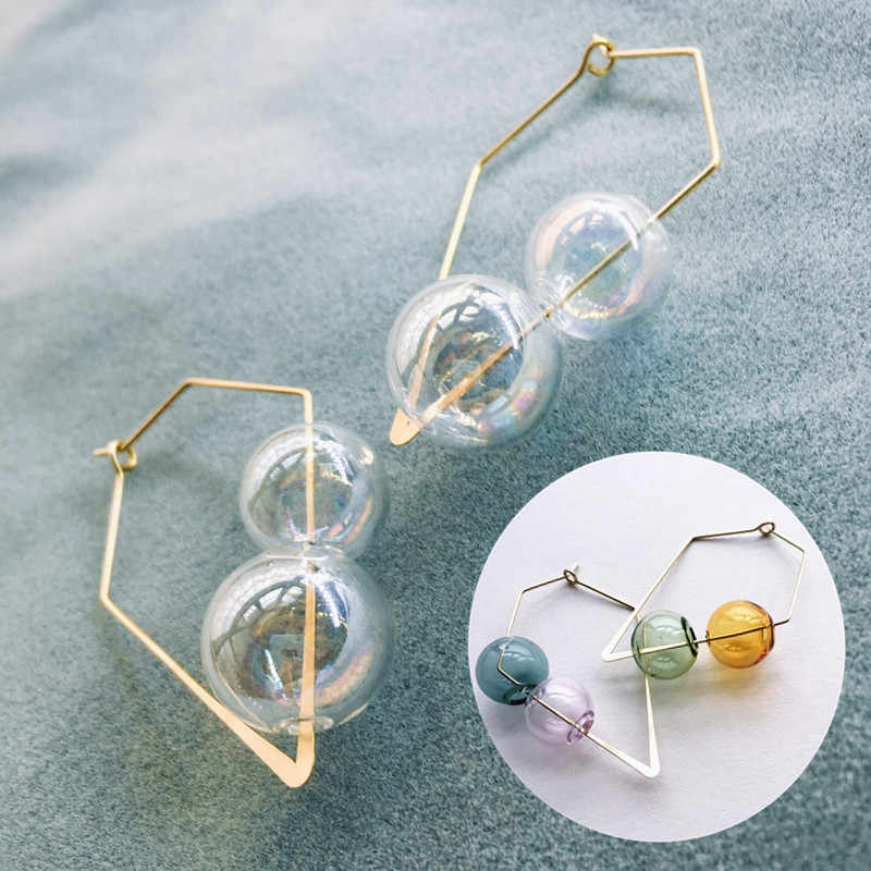 Original Fancy Hand Blown Bubble Hoop Earrings For Women Vintage Unique Colorful Glass Ball Earrings Clear Korean Earrings 2019