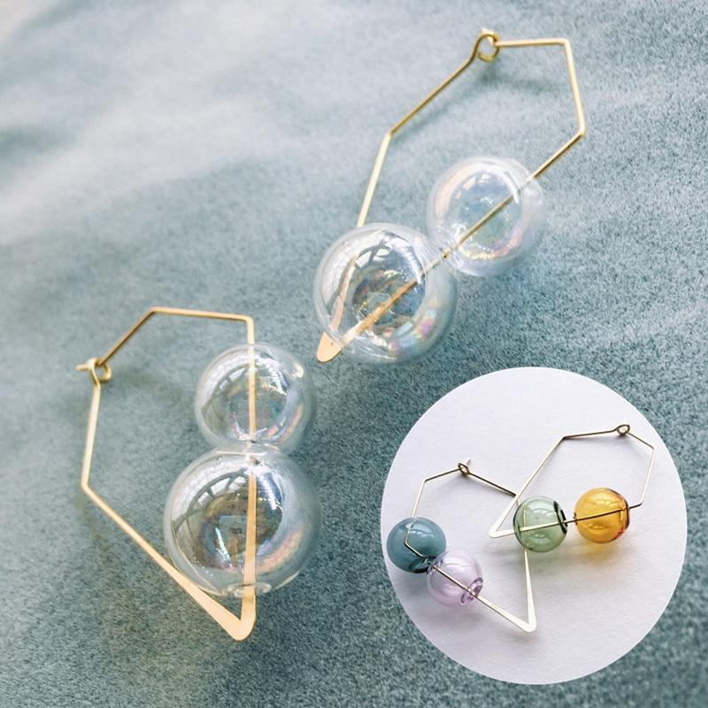 Original Fancy Hand Blown Bubble Hoop Earrings For Women Vintage Unique Colorful Glass Ball Earrings Clear Korean Earrings 2019