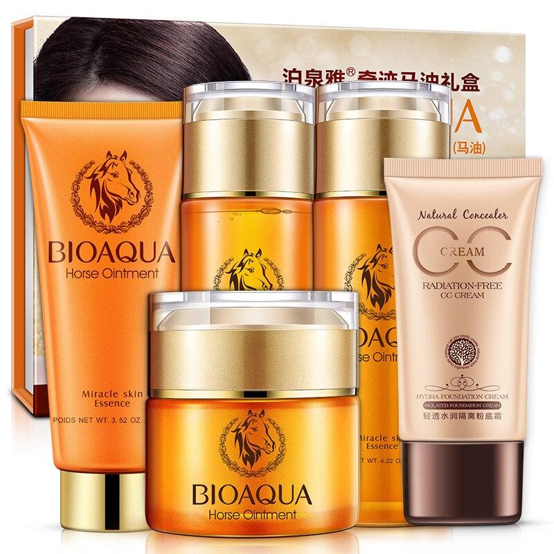 5 Pcs/Lot BIOAQUA soin de la peau rajeunir série huile de cheval hydratant Gel crème et nettoyant pour le visage et masque * 5