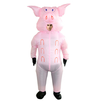 2019 New Adults Inflatable Pig Costumes Pink Pig Cosplay Suits For Carnival Halloween Party Cartoon Animal Costume For Men Women