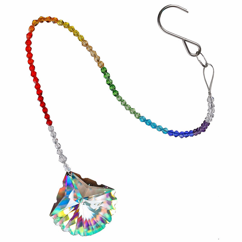 H&D 40mm Clear Crystal Scallop Design Pendant Chakra Rainbow Maker Collection Hanging Suncatcher Wedding Favors Free Wipes