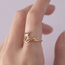 Personalized Custom Name Rings For Women Handwriting Jewellery Rose Gold Stainless Steel men Wedding Bijoux Femme Bff