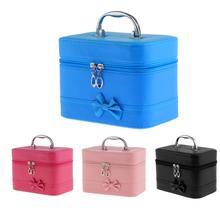 Portable Handbag Zipper Makeup Cosmetic Organizer Storage Case Box - Black/ Rose Red/ Pink/ Blue Optional