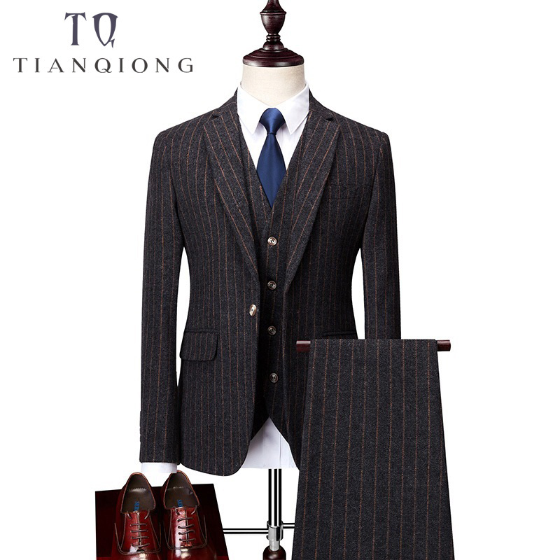 Men Ceremony Suit Slim Fit Vertical Stripes Suits Blazer Vest Pants for Tuexdos Dress Suits Groom Wedding Jacket Coats S 6XL