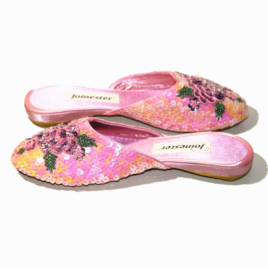 Ladies Sequins Slippers Women Outdoor Flat Slipper Silk and Satin Home Shoe Sparkling Fashion Mules Woman Vintage Summer Slides 3