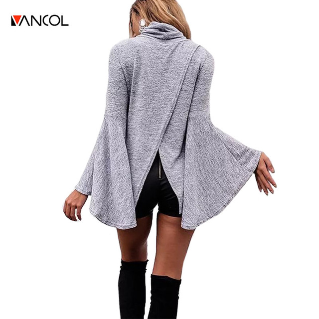 524e9af7caa32 vancol jerseis mujer invierno 2016 women knitted pullover back cross  irregular knitwear autumn flare sleeve turtleneck sweater