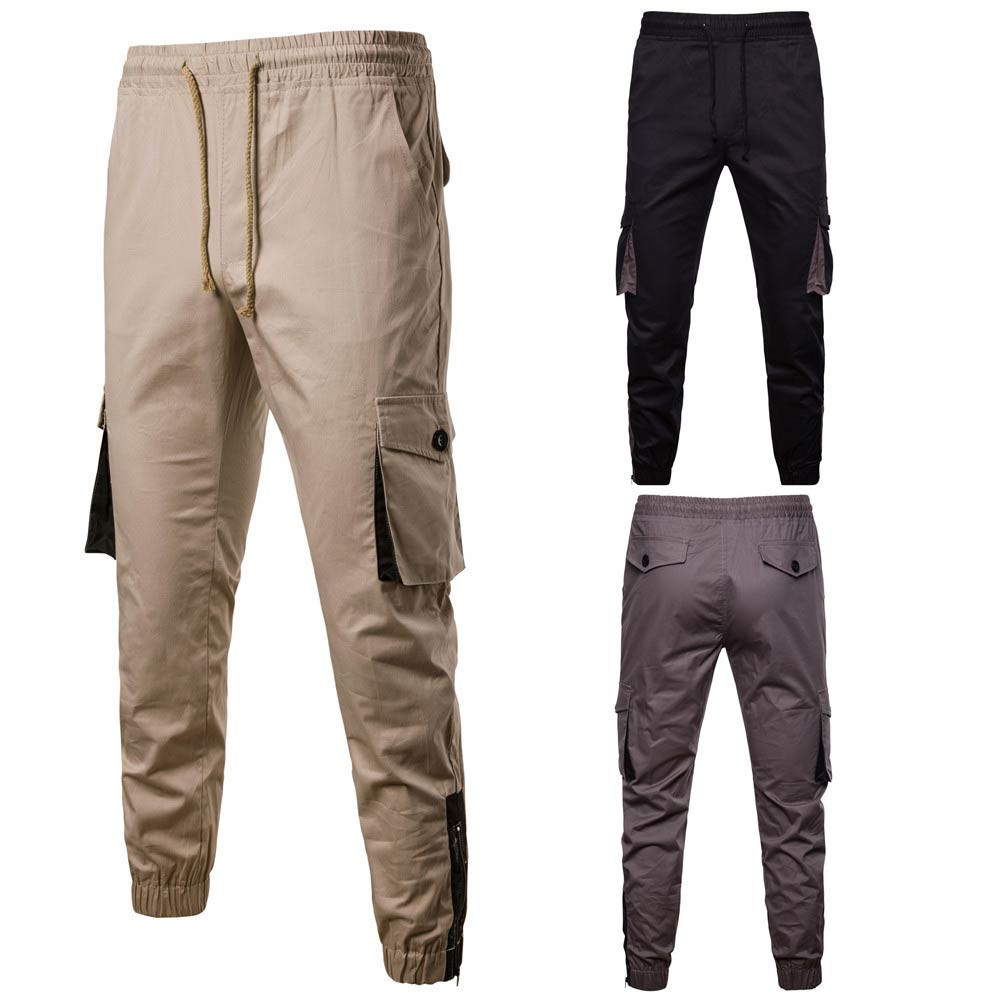 Cargo Pants Men Overalls Pocket Overalls Casual Sport Work Casual Trouser Elastic Waist Black Khaki Army Military Pant Fashion