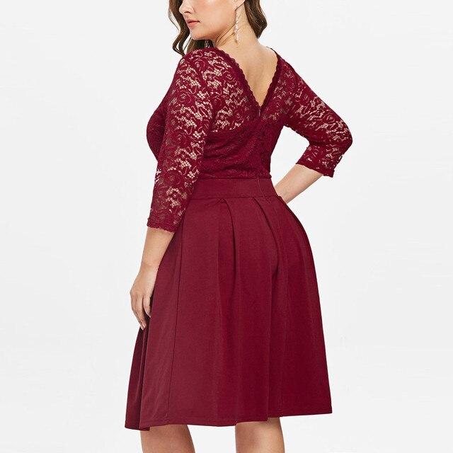 Casual Dress Woman 5XL Big Size Dress 2019 Autumn Dresses Women Plus Size Solid Color Lace Party Evening Prom Vestido 3