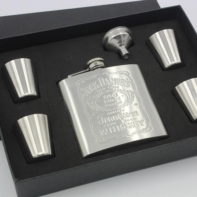 6 OZ Russian Whiskey Alcohol Flask Stainless Steel Portable Hip Flask Alcohol Bottle Liquor Flask Petaca 4 Mug+1 Funnel+Box
