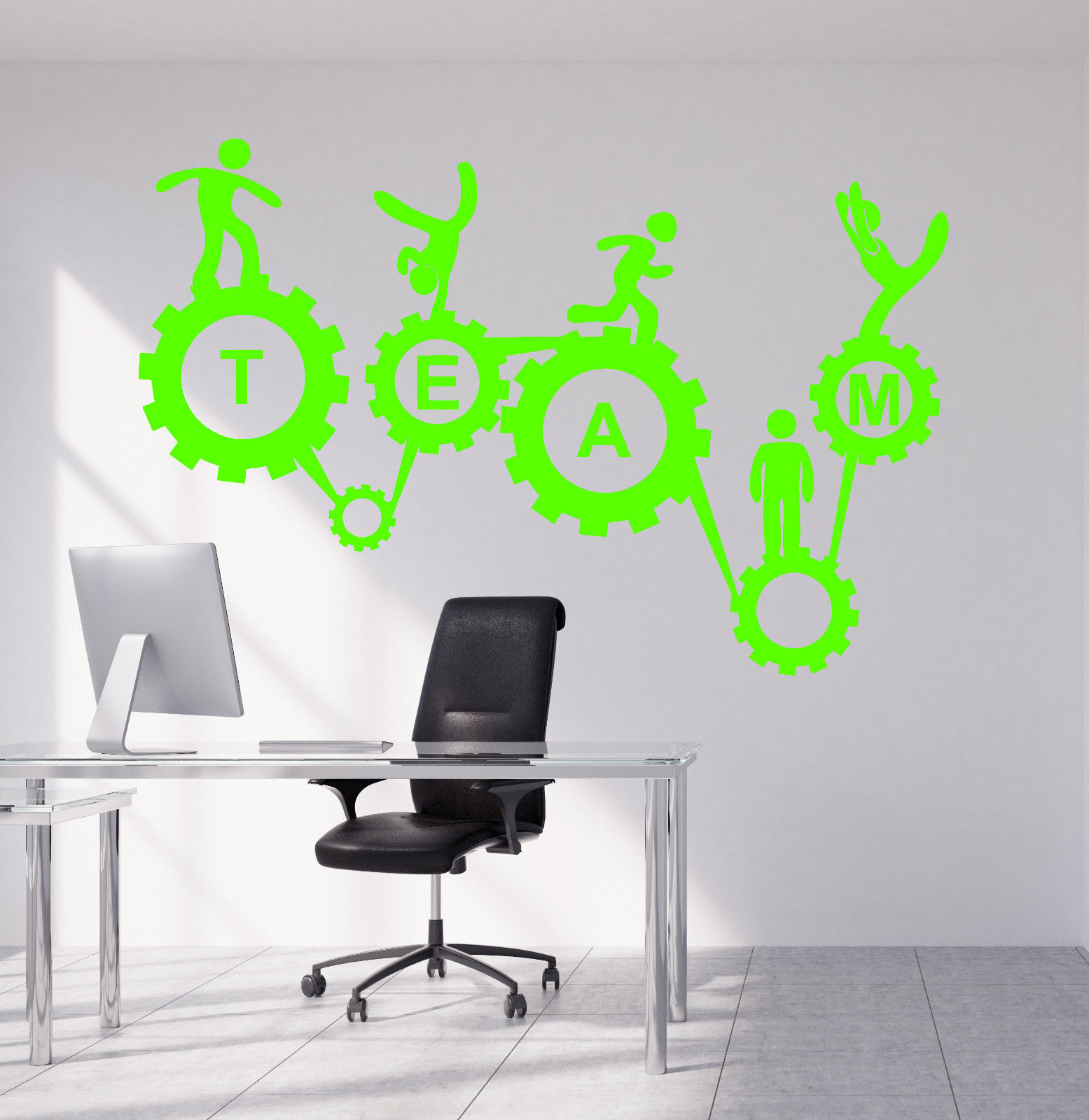 Vinyl Wall Decal Teamwork Office Style Gears Mechanism Stickers