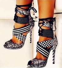Women Geometric High Heel Sandals Peep Toe Mixed Colors Lace-up Gladiator Sandals Boots Cut-out Ankle Warp Dress ShoesReal Photo цены онлайн