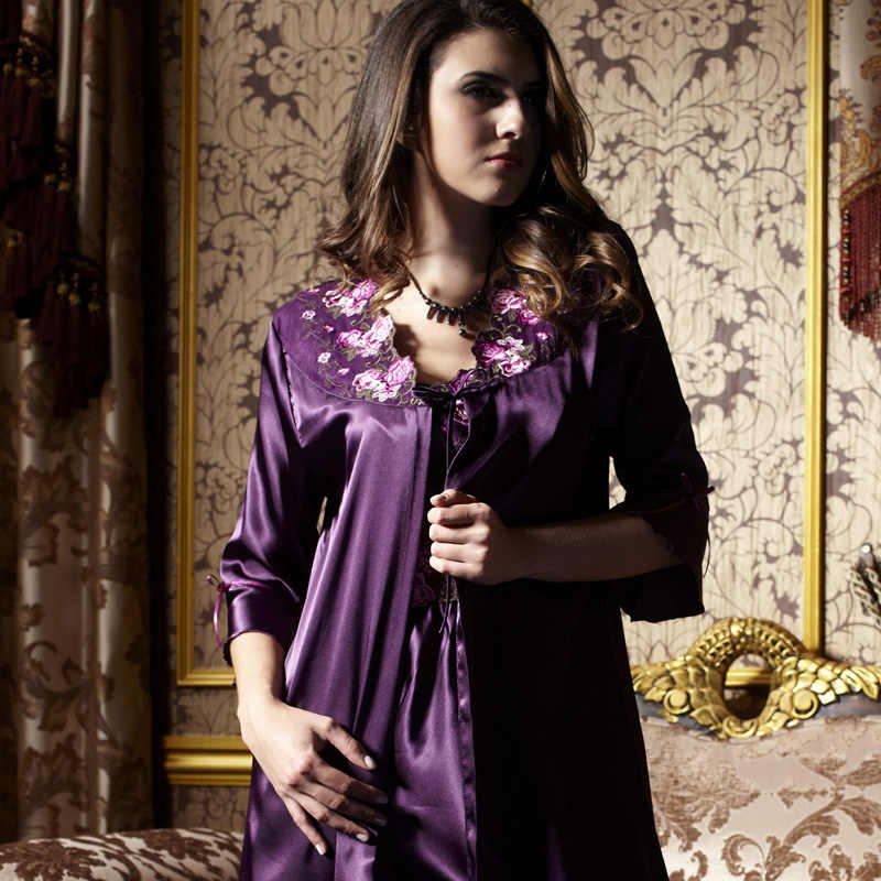 81c460460952 ... Xifenni Robe Sets Female Satin Silk Sleepwear Women Two-Piece Sleeping  Dress Embroidery Purple Faux ...