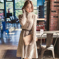 Cinto Cardigan mulheres suéter de lã de inverno vestido de moda de nova vestido de camisola longa