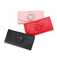 New ladies long wallet Korean version of the ring woven leather wallet Multi card lock wallet Goat leather wallet
