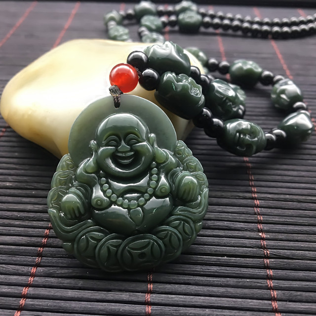 workmanship female hetian wufu pendant necklace male double item and models door bluestone sided pro
