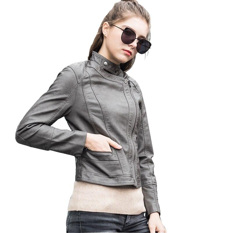 2018Spring PU   Leather   Jacket Short Biker Jacket Stand Collar Chaquetas De Cuero Plus Size S To 2XL   Suede   Coat UUV1081
