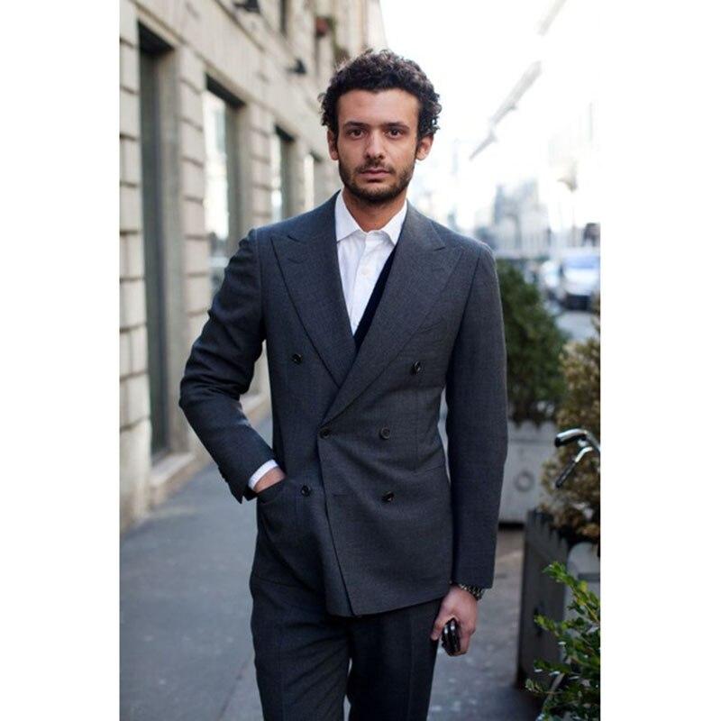 Elegant Dark Grey font b men b font wedding font b suits b font Work Wear