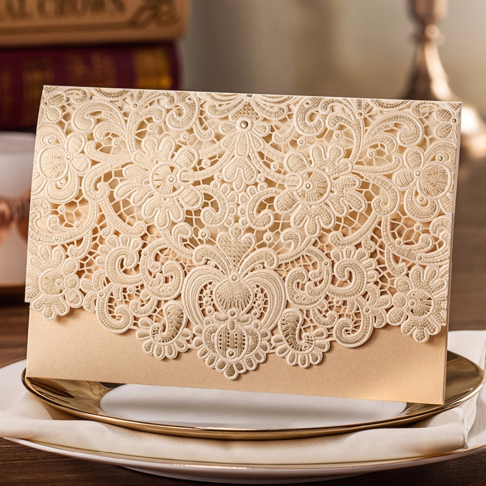 Aliexpress 30pcs Horizontal Laser Cut Wedding Invitations Cards White Gold Red Embossed Flower Paper Cardstock With Envelope Seal Cw073 From