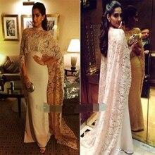 High Neck Dubai nude Lace Cape Muslim Evening Dress 2019 abiye robe de soiree Islamic Arabic long sleeve prom Formal dress