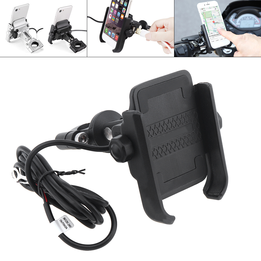 12 24V DC 5V 2A Aluminum Alloy Mobile Phone Bracket Motorcycle Chargers Support 360° Horizontal Rotation for 4~ 6 Inch Phone