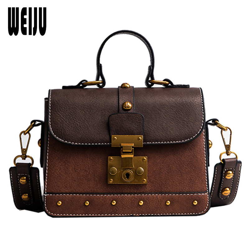 WEIJU 2018 Women Bag Fashion Women Messenger Bags Rivet Wide Strap Shoulder Bags for Women High Quality PU Leather Crossbody Bag