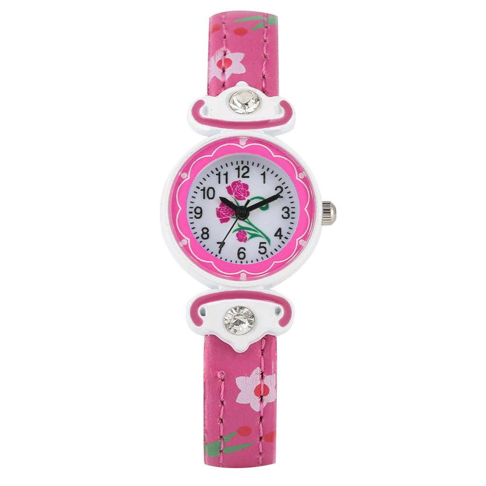 Special Flower Pattern Dial Watch For Children Quartz Diamond-encrusted Leather Strap Watches For Kids