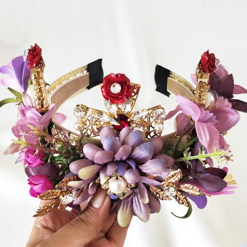 Exaggeration Purple Flower Headbands Bridal Head Accessories Wedding Cross Crystal Bride Wreath Hair Jewellery Hair Sticks