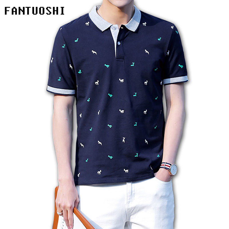 2018 New Summer   Polo   Shirt Cotton Fashion Men Print lapel Short-sleeve   Polo   Homme Slim Fit Casual Camisas   Polo   Breathable