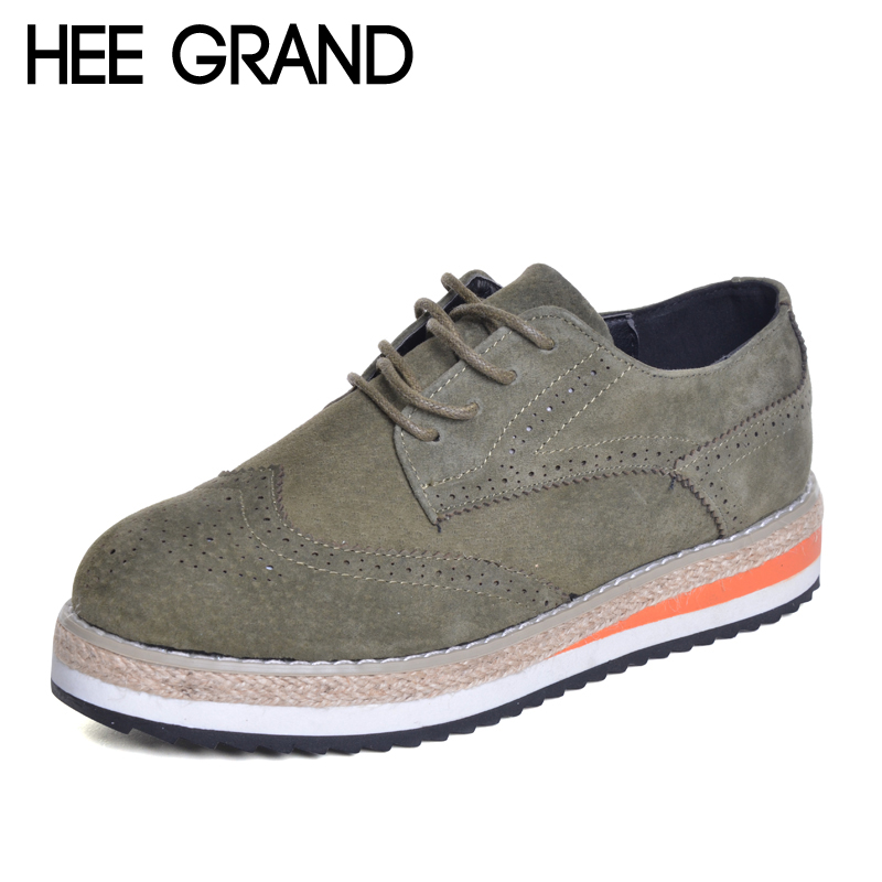 HEE GRAND Women Brogue Shoes Flock Hemp Patchwork Flat Platform Cut outs Thick Bottom Shoes Woman British Style Footwear XWD4437 hee grand women s wedges heel highs for 2017 summer cut outs love heart bottom pumps wedding shoes woman size 35 39 xwd401