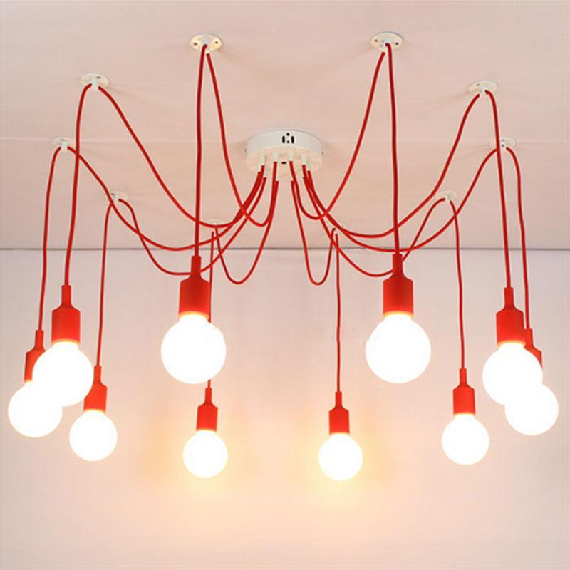 10 Heads E27 Silicone Lamp Holder Pendant Lighting AC 90V-260V Vintage Style Pendant Lights For Bedroom Kid Night Lamp