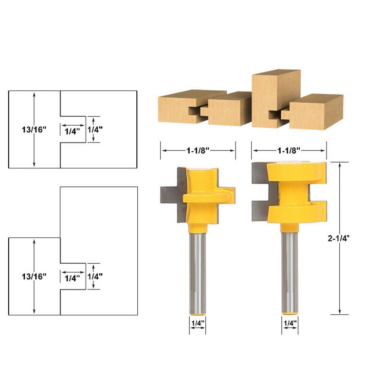 Glue Joint Router Bit - Medium Reversible Woodworking Chisel Cutter Tool - 1/2 Shank Tenon Cutter for Woodworking Tools 2pcs 1 2 shank lock miter router bit tenon milling cutter for woodworking cutter tool cutting tools tenon cutter