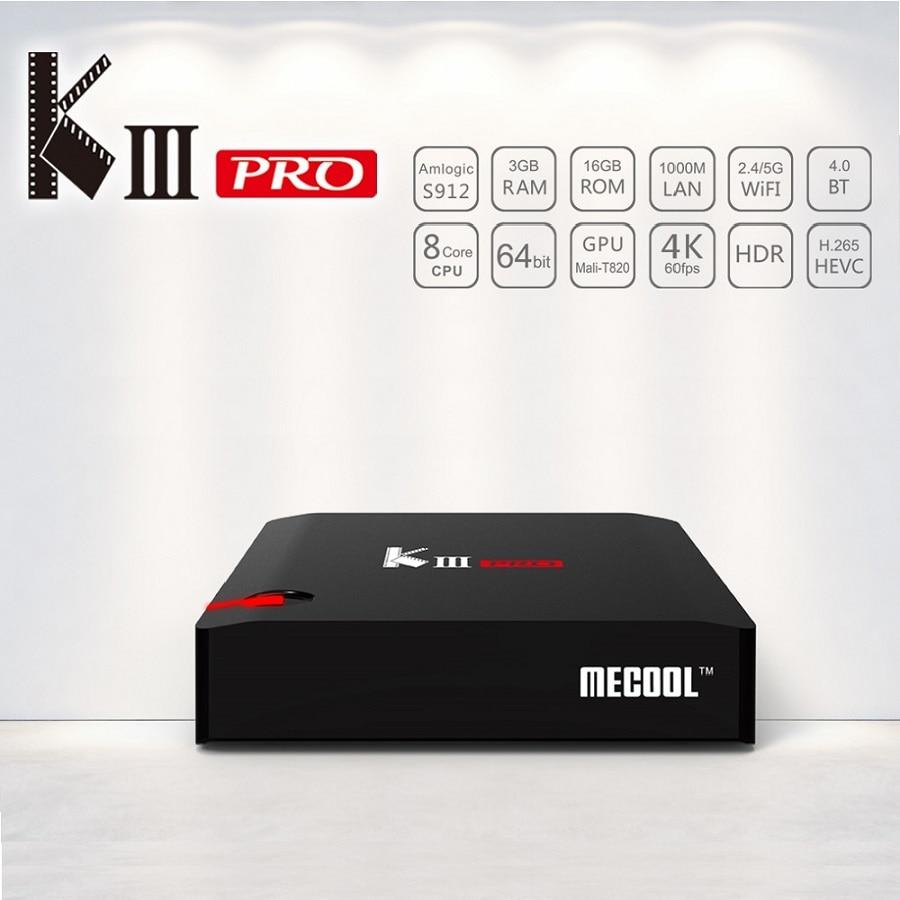 KIII PRO DVB-S2 & DVB-T2 & DVB-C & Android 7.1 TV Box 3GB 16GB Amlogic S912 Octa Core 64bit 4K Combo CCCAM NEWCAMD Biss key