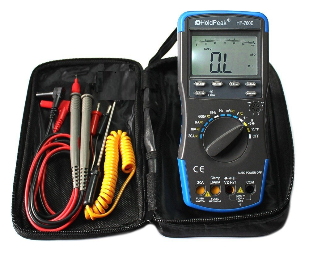 ФОТО HoldPeak HP-760E Auto Ranging Digital Multimeter Meter with Min Max Value/Duty Cycle/Frequency/Temperature Test and Carry Bag