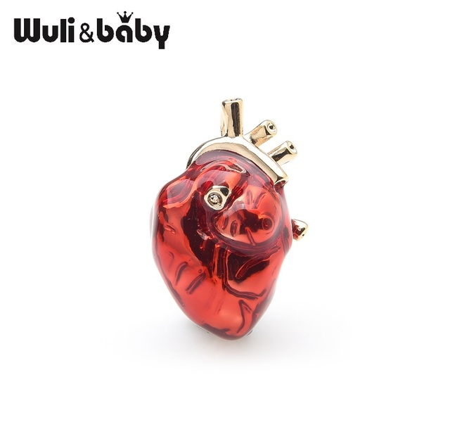 Wuli Bayi Merah Enamel Jantung Bros untuk Wanita dan Pria Klinik Rumah Sakit Profesional Seragam Bros Pin Tim Hadiah